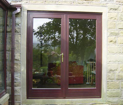 Upvc french doors rosewood effect select products for Upvc french doors leeds